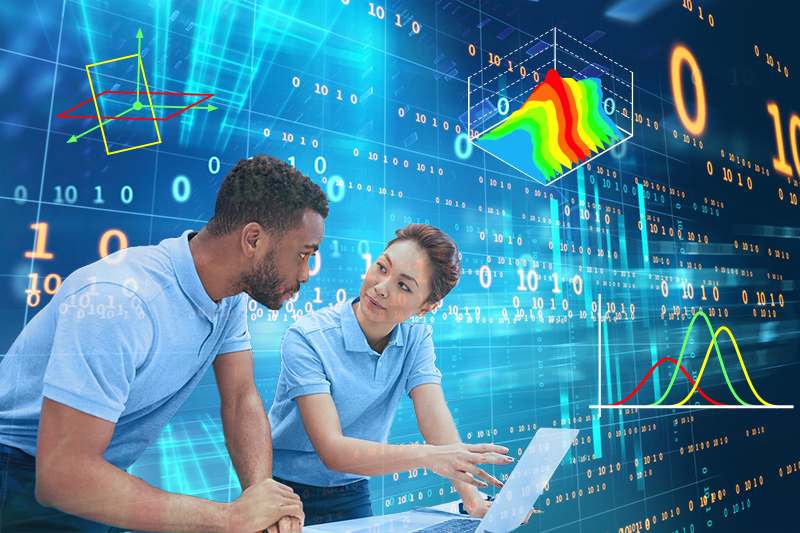 Two researchers discuss on digital background with data analytic graphics